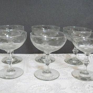 Vintage Champagne Glasses, Etched Glassware, Grapes and Vines, Set of 6, Retro Barware