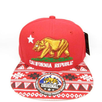 California Republic Cap In Red