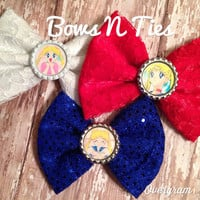 SALE Lace and fabric bow anime choose color