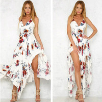 Fashion Flower Print V-Neck Sleeveless Backless Crisscross Strap Irregular Hem Maxi Dress