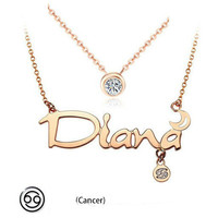 12 constellations titanium steel rose gold Double layers short necklace(Cancer)