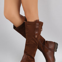 Suede Contrast Studded Riding Knee High Boots