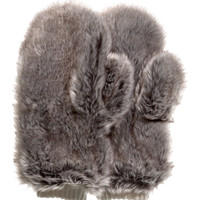 H&M - Faux Fur Mittens - Taupe - Ladies