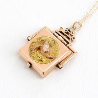 Antique Victorian 14k Rose & Yellow Gold Bird Locket Necklace- Vintage Rare Late 1800s Spinner Fob Fine Jewelry Flying Swallow in Nest