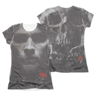 SONS OF ANARCHY JAX SKULL Cap Sleeve Juniors 2 sided T-Shirt Cotton/Poly