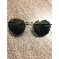 Cheap NWT NIB Ray-Ban RB3447 Round Metal 001 Gold 50mm Green G15 Lenses Sunglasses