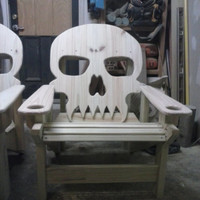LOCAL ONLY, MARYLAND local pick-up only, Made to order Adirondack Style Skull Chair, Patio Chair, Wood Skull Yard Furniture