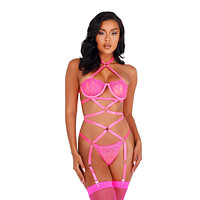 Roma Lingerie Women's Lacey Criss-Cross Underwired Teddy with Garters