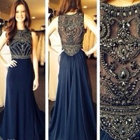 Evening Dress Prom Gown Chiffon Beading Party Formal Dress Long Occasion Dress
