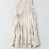 AEO Feather Light Rib Tank, Cream | American Eagle Outfitters