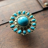 Brass Drawer Knobs with Turquoise Stones (MK163)