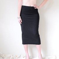Mid-Calf High Waist Wiggle Skirt Hand Dyed in Stretch Knit Cotton - Fitted Pencil Skirt - Tight Skirt - Wear 3 Ways - Sizes XS, S, M, L, XL