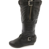Bamboo Belted Knee-High Sliver Wedge Boots by Charlotte Russe - Black