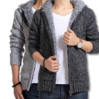 Men's Sweaters Brand 2016 New Fashion Men Pullovers England Style Cardigan Winter Thicken Hooded Knitwear Clothing L-XXL