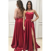 Satin Long Prom Dress Spaghetti Strap Criss Cross Back Slit Sleek Formal Dresses