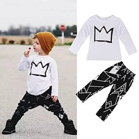 2pcs Clothes Toddler Kids Baby Boys T-shirt Tops + Long Pants Trousers Short Outfits Clothes Set Summer Cool Fashion 2 3 4 5 6 7