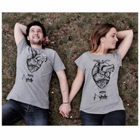 anatomical heart matching t-shirts set couples shirts hot air balloon and human heart wedding gift  anniversary gift love gift hipster shirt