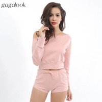 Gagalook 2017 Summer Brand Tracksuit Women Track Suit Pink Long Sleeve Top and Shorts 2 Two Piece Set Casual Sweatsuit Set S1784