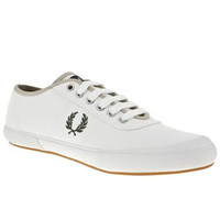 Men's White & Beige Fred Perry Woodford Canvas at schuh