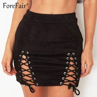 Forefair High-Quality Soft Leather Suede Skirt Autumn Winter Women Short Pencil Skirts Black Vintage Lace-Up Bodycon Skirts