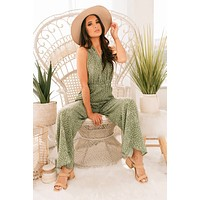 Let's Go To Cabo Polka Dot Self Tie Top Jumpsuit (Sage)