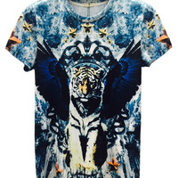 Multicolor Crown Tiger Printed T-shirt