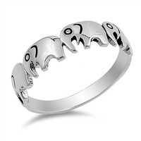 925 Sterling Silver Elephants Ring 5MM