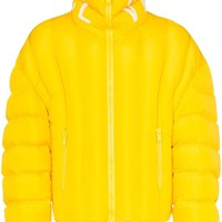 Yellow Padded Logo Print Collar Jacket by Versace