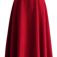 Swing in Grace Woolen Full Skirt in Red