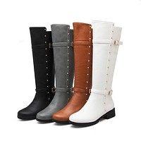 Women Rhinestone Buckle Knee High Boots Medium Heel 6346
