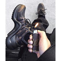 LV monogram coffee black sports Daddy shoes heel height is about 5.5cm black