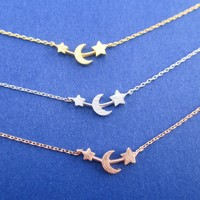 Crescent Moon and Little Stars Shaped Space Themed Pendant Necklace