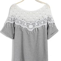 'The Magdalena' Gray Lace Panel Tassled Blouse