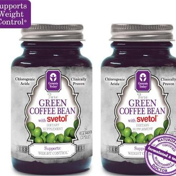 NEW!!! 100% Pure Green Coffee Bean Extract with SVETOL - 60 Vegetarian Capsules (2 Bottles) | deviazon.com