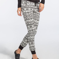 Full Tilt Tribal Print Womens Jogger Pants Grey Combo  In Sizes