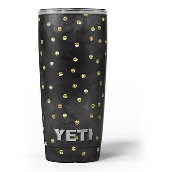 Black Watercolor and Gold Glimmer Polka Dots - Skin Decal Vinyl Wrap Kit compatible with the Yeti Rambler Cooler Tumbler Cups