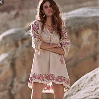 Cleo Embroidered Tunic Dress Boho Ivory With Pink Floral Embroidery Hem Lantern Sleeves Tassel Ties Small Medium Or Large
