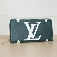 LV Louis Vuitton Classic Fashion Women Leather Tote Zipper Wallet Purse Green
