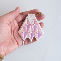Embroidered brooch Tuareg inspired chevron design with pinks on cream muslin and cream felt and gold pin Summer trends An Astrid Endeavor