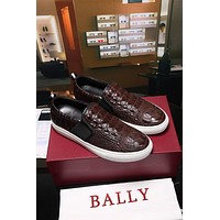Bally Herald Men's Lamb Leather Skate Trainer In Brown Sneakers Shoes - Sale