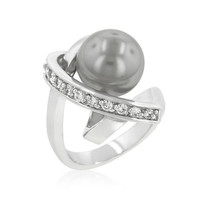 Silvertone Knotted Simulated Pearl Ring, size : 10