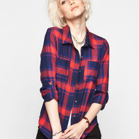 Full Tilt Two Tone Womens Flannel Shirt Red Combo  In Sizes