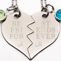 Best Friends Forever Necklace Set | Personalized  Engraved Gift For Best Friend | Custom Birthstone Best Friend Gift | Best Bitches Jewelry
