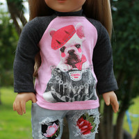 18 inch doll clothes, pink and grey graphic print shirt, grey ripped denim skinny jeans with floral patches, american girl ,maplelea