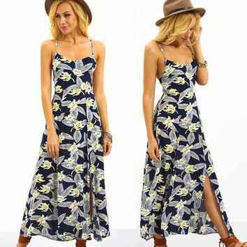 GZDL New Style Hot Sale Summer Vintage Floral Womens Strapless Backless Bohemia Cocktail Party Maxi Long Dress CL3024
