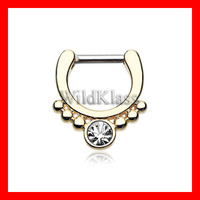 Gold Septum Clicker Golden Classic Gem Grandiose Septum Ring Cartilage Earrings Nipple Ring Circular Barbell Tragus Jewelry Helix Conch