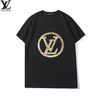 GUCCI 2019 early spring new large LOGO sequins custom embroidery simple couple models round neck short-sleeved T-shirt black