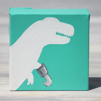 """T-Rex Painting, Pirate Dinosaur Art / 4"""" x 4"""" Canvas, More Colors Available"""
