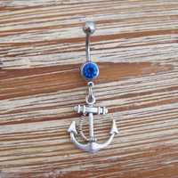 Belly Button Ring - Body Jewelry - Anchor with Rope and Blue Gem Stone Belly Button Ring