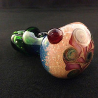 Green Glass Double Donut Twister with Layered Twisted Color Pattern Tobacco Spoon Pipe